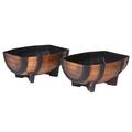 PestExpel® 2 x Half Barrel Oak Effect Trough Garden Patio Planters Pot Ornament