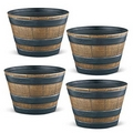 PestExpel® 4 x Half Barrel Oak Effect Garden Patio Planters Pots