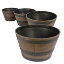 PestExpel® 4 x Half Barrel Oak Effect Garden Patio Planters Pots